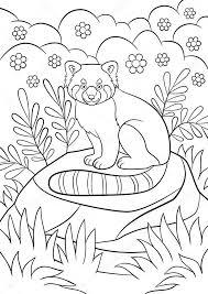 раскраски страниц маленькая милая красная панда улыбки векторное