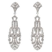 art deco style faux palmette diamond chandelier earrings for