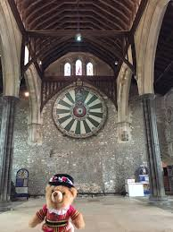 barney the bht bear at king arthur s round table in the great hall winchester the last remaining part of winchester castle