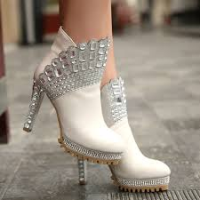 buy fashion clothing peacock diamond crystal thick high heel Cheap Wedding Shoe Boots peacock diamond crystal thick high heel wedding leather women's ankle boots booties Silver Wedding Shoes
