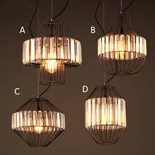 industrial black metal crystal prism wire cage 1 light hanging pendant light fixture