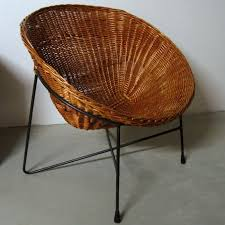 60 s rattan and black lacquered metal easy chair ikea comet