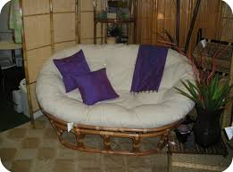 White Indoor Papasan Chair With 3 Purple Cushions