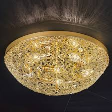 franklite sirius gold finish crystal glass Ø 500mm 5 light flush ceiling