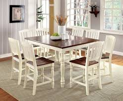 harrisburg ii vintage white dark oak finish 9pc cottage style counter height dining table 18 leaf