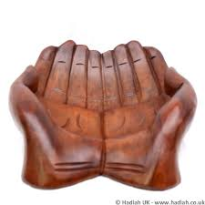 40cm extra large carved wood cupped hands offering bowl