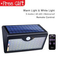 60 led wireless waterproof solar motion sensor lights outdoor remote