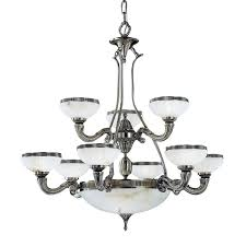 classic lighting chelsea 36 in 12 light pewter vintage alabaster glass shaded chandelier
