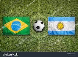 Brazil Vs Argentina Flags On Green ...