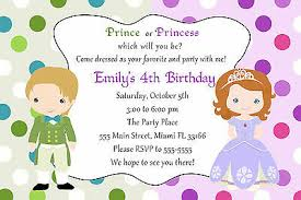 kids birthday party invitations 30 prince princess invitation cards kids birthday party invites green purple ebay
