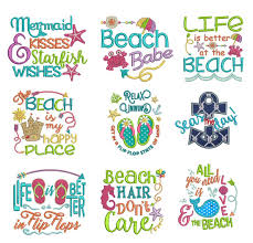 Free Machine Embroidery Sayings Designs Seaside Sayings Set 1 Embroidery Designs Machine
