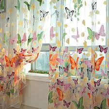 Small Picture Door Window Home Decor Voile Tulle Valance Scarf Floral Butterfly