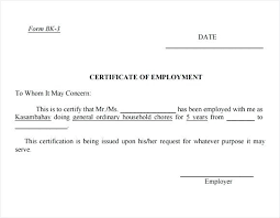 Format Of Employer Certificate Sample Employment Certification