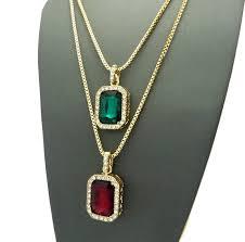 micro rhinestone red green square pendant chian necklace 2 4mm 24 box chain pendant hip hop men necklace set small size