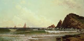portland harbour painting cliffs at cape elizabeth by alfred thompson bricher