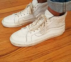 shoes high top vans sk8 hi vans perforated leather white vans white vans sk8 high vans
