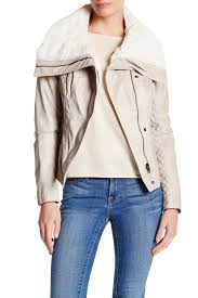 image of guess faux leather faux shearling collar moto jacket
