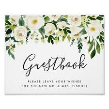 Alabaster Floral Wedding Guestbook Sign Zazzle Com