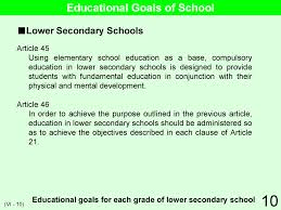 educational system practice in 10 vi school management educational goals and objectives