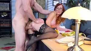 Redhead slut secretary Dani Jensen fucked by her boss doggy style.