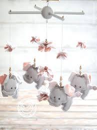 pink and grey elephant nursery grey pink elephant nursery mobile girl gift baby girls baby mobile girl