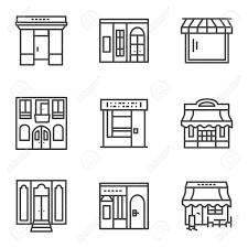 店舗のショーケース ブラックのシンプルなライン スタイルのベクトルのアイコンのセットです商業建築店