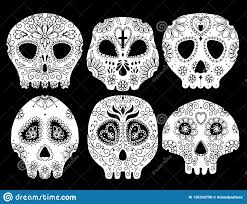 Day Of The Dead Illustration Skull Vector Illustration Set Tattoo