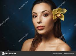 fresh makeup look natural finish woman with s back hair fashion concept
