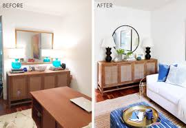 white airy home office. round mirror 4 black table lamp 5 credenza 6 rug 7 dot pillow 8 blue print 9 gold tray 10 low white planter 11 airy home office l