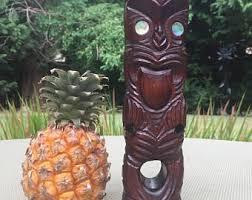 polynesian tiki idol wooden new zealand wood idol with mother of pearl eyes tiki wall art tiki bar decor tiki wood collectible  on tiki wall art nz with polynesian decor etsy
