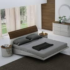 Amsterdam Queen Bed in American Walnut Veneer & Light Grey Lacquer