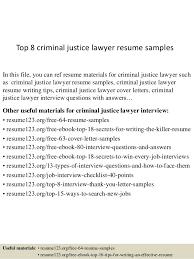 Sample Criminal Justice Resumes Top 8 Criminal Justice Lawyer Resume Samples