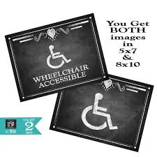 Handicap Bathroom Signs Delectable Printable Chalkboard Style Handicapped Accessible Signs 48 Etsy