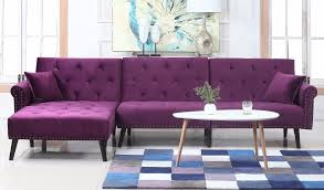 purple furniture. Victoria Velvet Sectional Futon With Chaise In Purple Furniture U