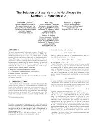 pdf the solution of s exp s a is not always the lambert w function of a
