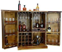 stylish brown bar cabinet with wine glass storage size 18dx33wx43h inches
