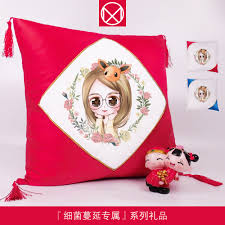 Photo DIY custom hand-painted pillows order Q version of the avatar  character design creative birthday gifts