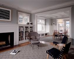 living room with gray walls and white trim
