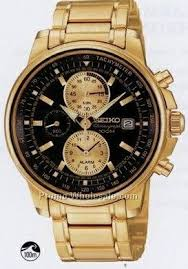 watches whole watches men`s seiko alarm chronograph watch gold w black face