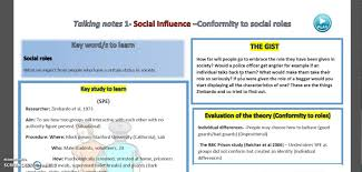 social influence conformity to social roles new spec as social influence 1 conformity to social roles new spec as psychology talking notes
