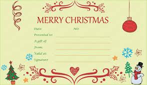Printable Gift Certificate Templates Printable Gift Certificate Template For Christmas Free Christmas