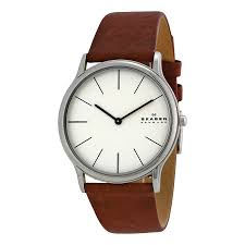 jomadeals com skagen theodor cream dial brown leather strap mens picture of skagen skw6083