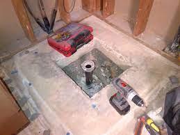 shower drain concrete slab issue