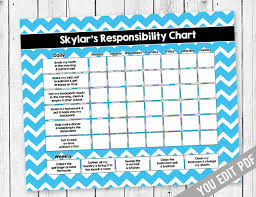 weekly reward chart printable chore chart for teens reward chart by sugarpickle designs on zibbet