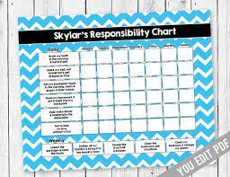 Behavior Reward Chart Printable Chore Chart For Teens Reward Chart Responsibility Chart Weekly Chore Chart Behavior Chart Kids Chore Chart Printable You Edit Pdf