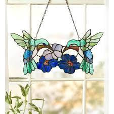hummingbird stained glass window panel wind weather pair hummingbird stained glass