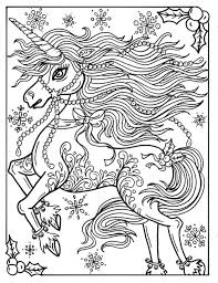 Christmas Unicorn Adult Coloring Page Coloring Book Holidays Fantasy