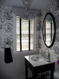 Powder Room with Black and White toile wallpaper traditional-bathroom