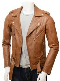 men s tan leather biker jacket ss front