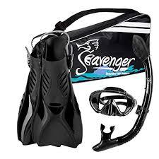 Seavenger Voyager Advanced Snorkeling Set With Panoramic Mask Trek Fins Dry Top Snorkel Gear Bag